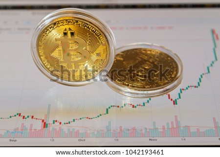 Two gold bitcoins in a transparent box and a trading chart