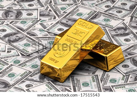 Two gold bullions on hundred Dollar bills - stock photo