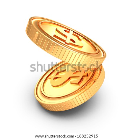 Two gold dropping coins with shadow on white background. 3d render illustration - stock photo
