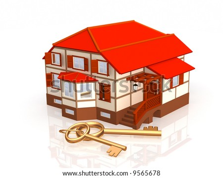 Two gold keys, laying near to a cottage. Objects over white - stock photo