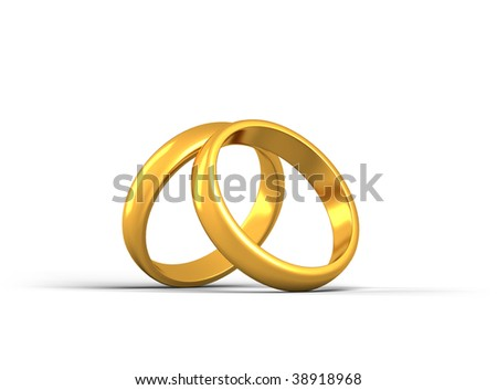 Two gold rings leans on together - stock photo