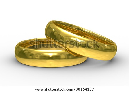Two gold wedding rings. Isolated 3D  image - stock photo
