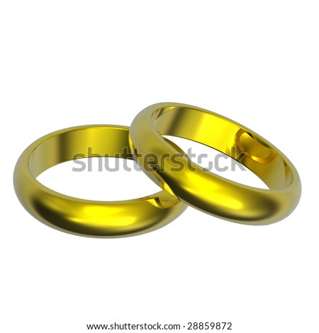 Two gold wedding rings isolated on white. Computer generated 3d photo rendering.