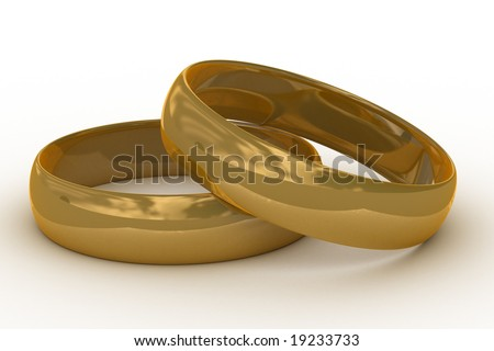 Two gold wedding rings. the 3D  image. - stock photo