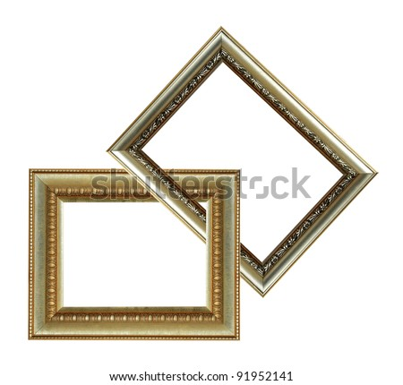 two gold wood frames - stock photo