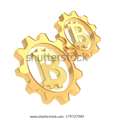 Two golden cogwheel gears with a bitcoin crypto currency sign inside composition isolated over white background - stock photo
