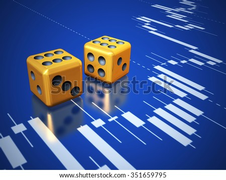 Two golden dices on reflect screen surface with stock graph. - stock photo