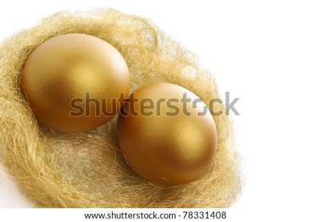 two golden eggs in the nest isolated on a white background - stock photo