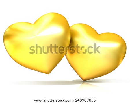 Two golden hearts. 3D render illustration isolated on white background - stock photo