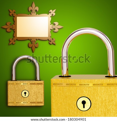 Two golden lock and frame on a green background - stock photo