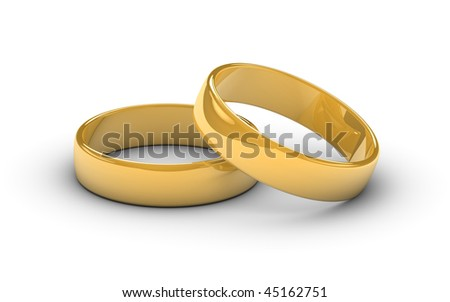 Two golden marriage rings on a white background.