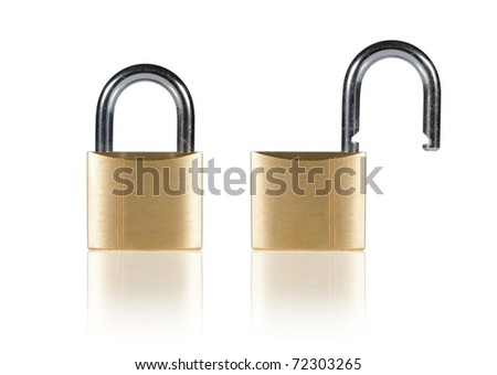 Two Golden Padlock in different position - stock photo
