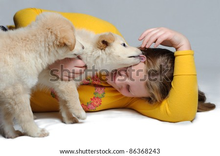 Two golden retriever puppies play with a teenage girl. One is licking the girls face. She is giggling.