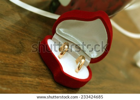 two golden ring in the box - stock photo