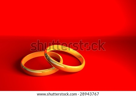 Two golden rings on red background