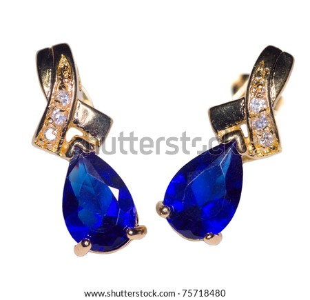Two Golden sapphire earrings with small diamonds isolated on white - stock photo