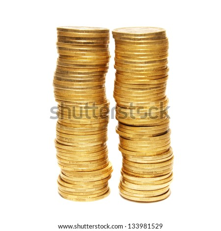 Two golden towers isolated on white background - stock photo