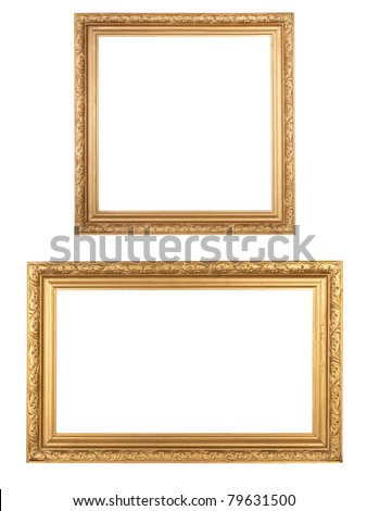 two golden vintage wooden frames isolated on white - stock photo