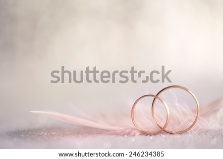 Two Golden Wedding Rings and  Feather - gentle soft background for marriage, retro toned - stock photo