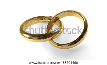 Two golden wedding rings interlocked