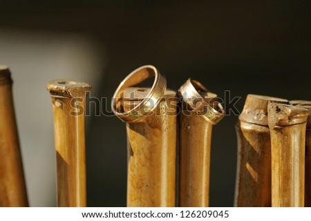 two golden wedding rings on wooden sticks - stock photo