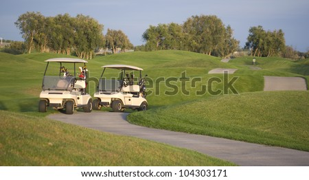 Two golf carts stand on the course path beside the ninth hole
