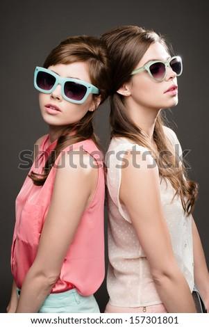 Two Gorgeous Fashion Models   - stock photo