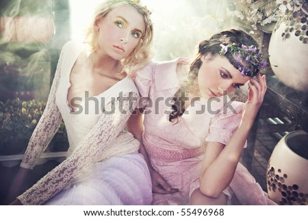 Two gorgeous flower nymphs - stock photo