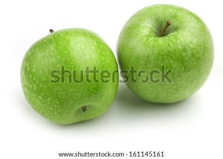 two granny smith apples isolated over white background