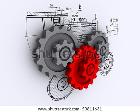 two gray and one red gears against a background of engineering drawings with shadow - stock photo