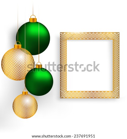 Two green and two golden netting Christmas balls with golden netting frame on grayscale background - stock photo