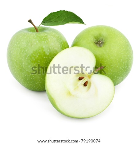 Two green apples and half of apple Isolated on a white background - stock photo