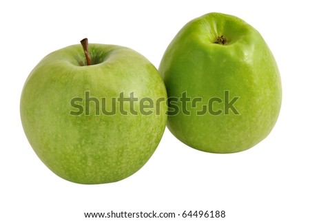 Two green apples on a white background, isolated