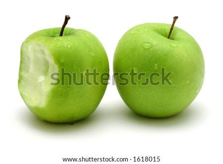 Two green apples on white background - stock photo