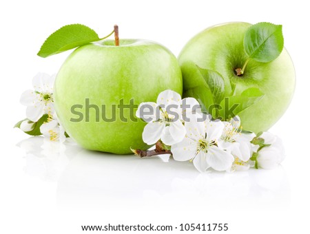 Two Green Apples with Leaf and Flowers isolated on a white background - stock photo