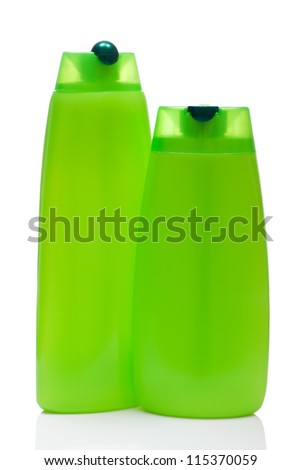 two green blank bottle, isolated on white background - stock photo