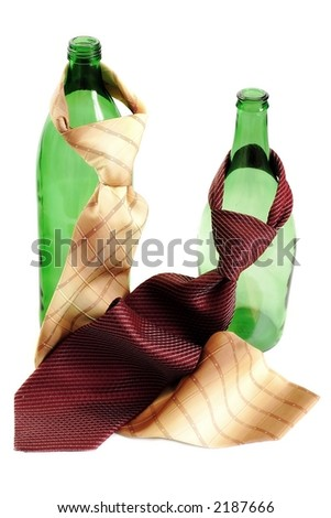 two green bottles with ties