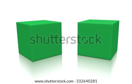 Two green 3d blank concept boxes with shadows isolated on white background. Rendered illustration.