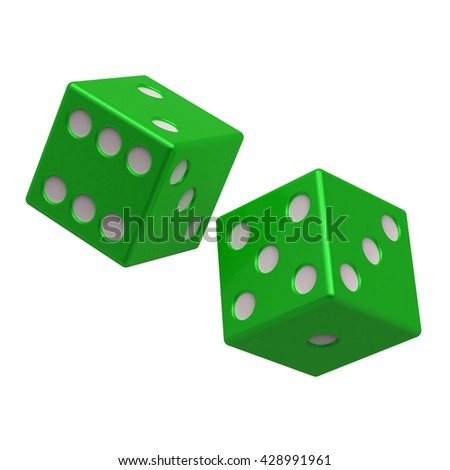 Two green dices isolated on white. 3D illustration. - stock photo
