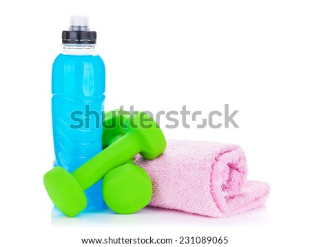 Two green dumbells, drink bottle and towel. Isolated on white background - stock photo