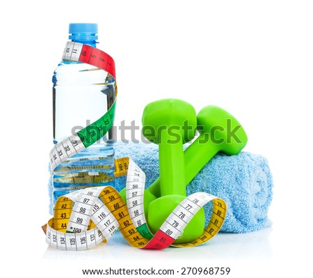 Two green dumbells, tape measure and drink bottle. Fitness and health. Isolated on white background - stock photo