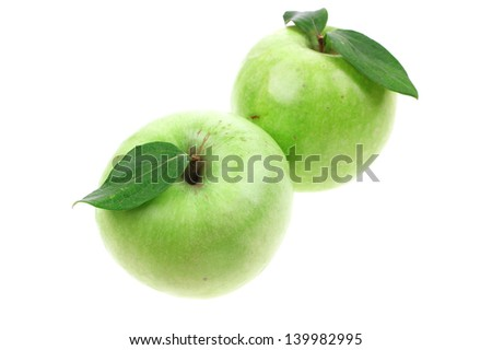 two green fresh ripe apple isolated over white background