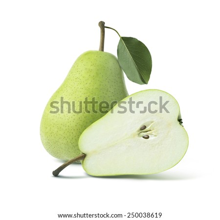 Two green pears whole half isolated on white background as package design element - stock photo