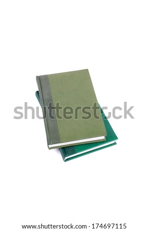 two green planners isolated on white - stock photo
