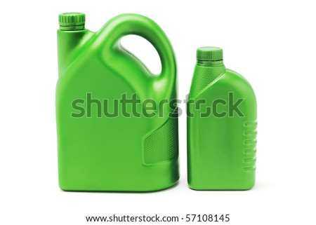Two green plastic lubrication oil containers on white background - stock photo