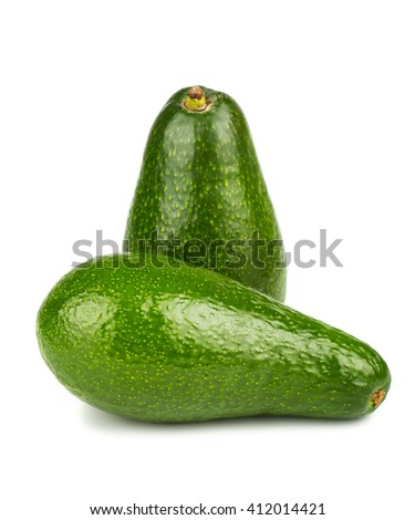 Two green ripe avocado isolated on white background