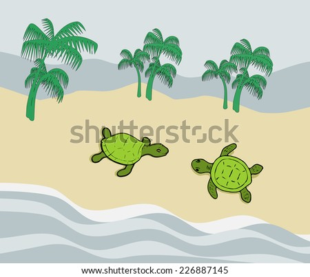 Two green turtles on a sand beach by the sea.  - stock photo