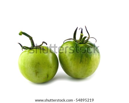 Two Green, Unripened Tomatoes Isolated oh White