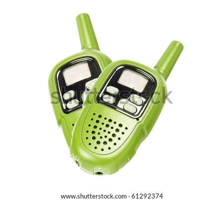 Two green walkie-talkie, isolated on white - stock photo