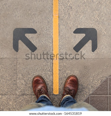 Two grey arrows - stock photo